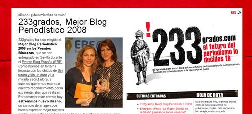 Bestes Journalistisches Blog 2008: 233grados
