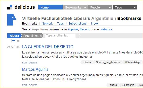 Ausschnitt der mit Argentinien verschlagworteten cibera-Bookmarks bei Delicious