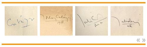 Cortázars Unterschriften in seinen Büchern