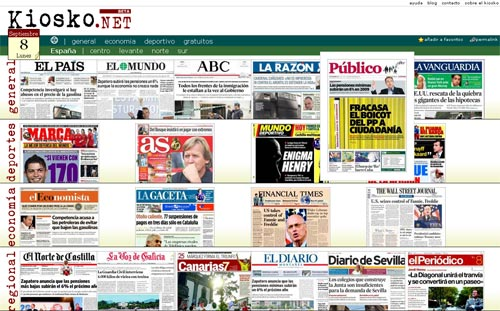 Kiosko - Titelseiten Internationaler Zeitungen