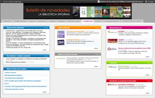 Netvibes-Site der Biblioteca de la Universidad de Navarra