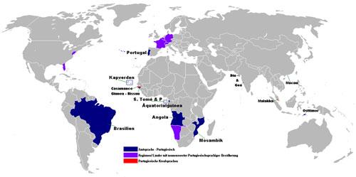 Weltkarte der portugiesischen Sprache