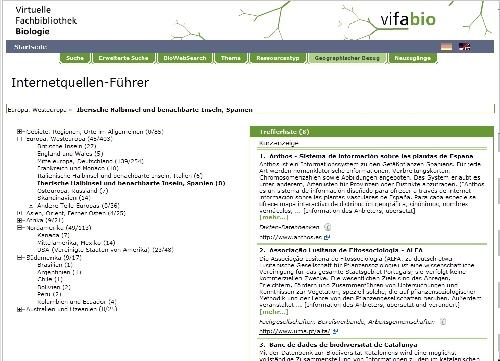 Abb. 1: Bildschirmfoto aus vifabio-Internetquellenfuehrer