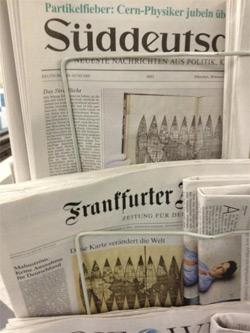 Waldseemüller-Karte auf den Titelseiten von FAZ & SZ