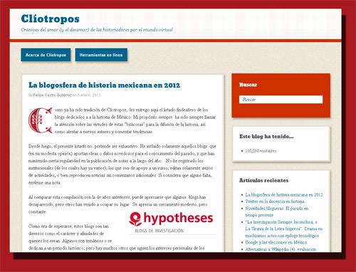 Clíotropos: La blogosfera de historia mexicana en 2012