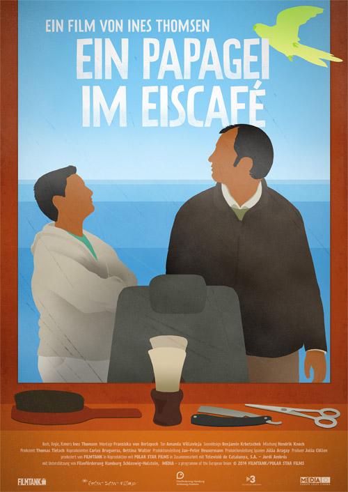 Plakat 'Ein Papagei im Eiscafé'