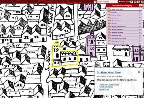 Abbildung 3: Ansicht aus dem Map of Early London Project (Screenshot)