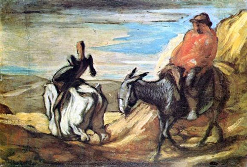 Honoré Daumier: Don Quichotte und Sancho Pansa (um 1866/68). Öl auf Leinwand.