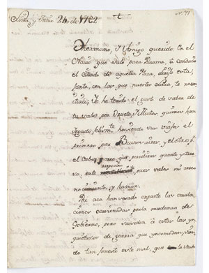 Letter from Pedro Carrillo de Albornoz y Bravo de Lagunas to Diego José