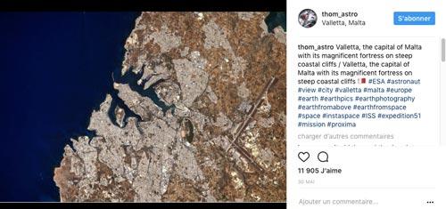 Photographie ajoutée par Thomas Pesquet sur son profil Instagram le 30 mai 2017
