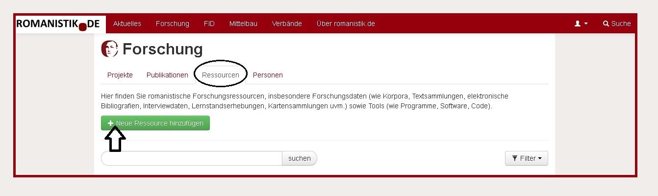 Das Meldeformular für Forschungsdaten auf romanistik.de