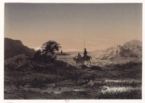 Don Quichotte et Sancho à cheval lanuit, Célestin Nanteuil