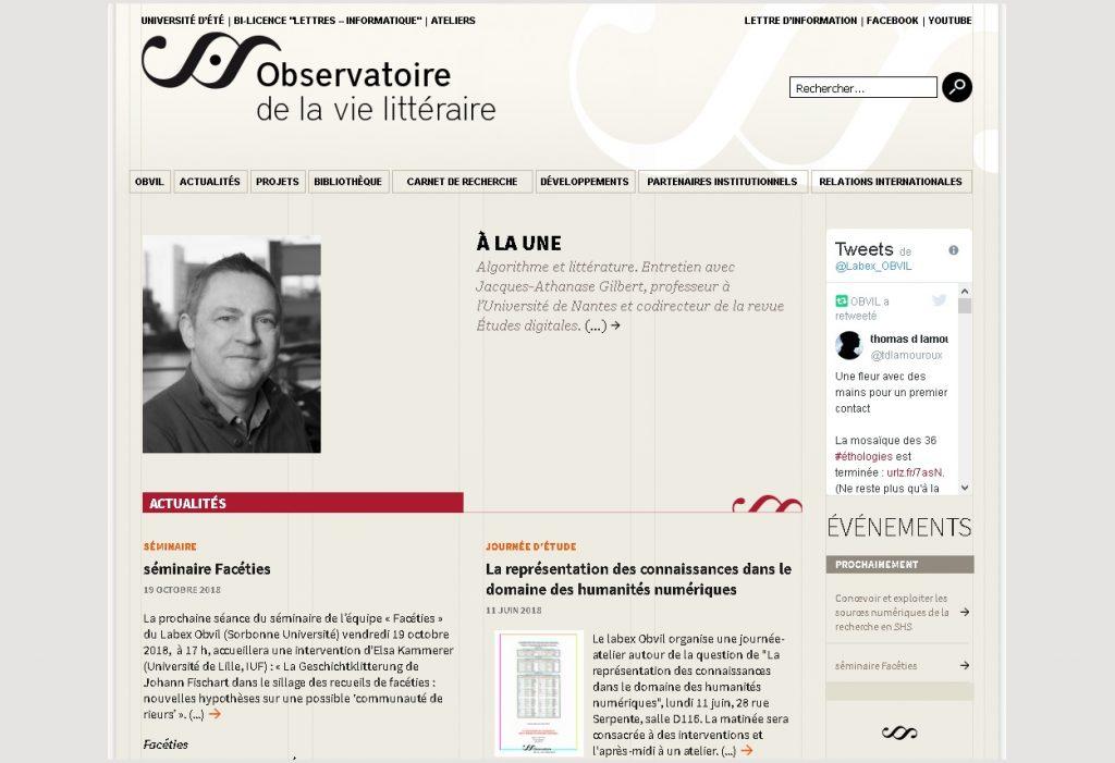 Screenshot der Webpräsenz Labex Obvil