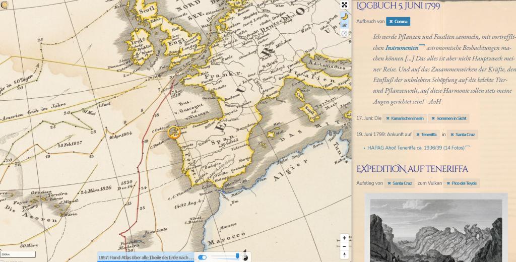 Auszug #ChronoAlex; Logbuch-Eintrag Humboldt vom 5. Juni 1799 mit historischer Weltkarte