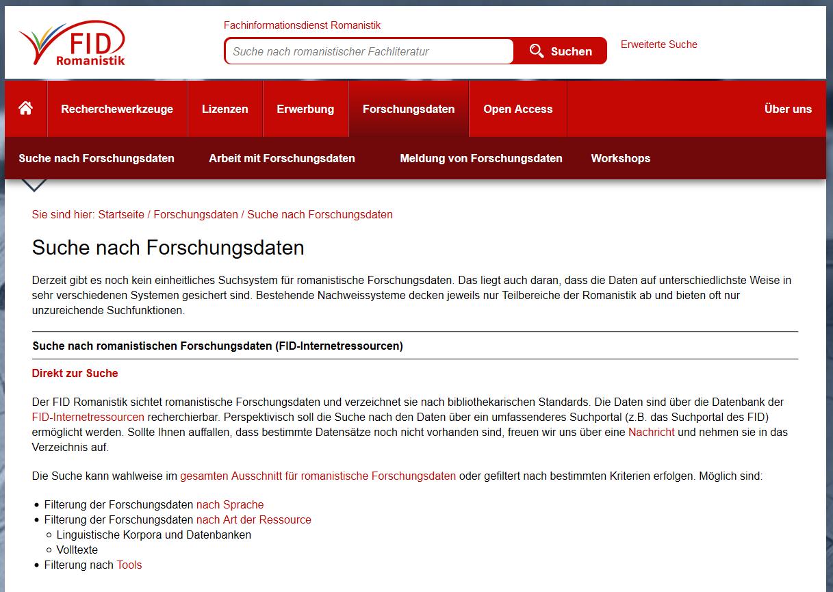 """Screenshot der Portalseite """"Suche nach Forschungsdaten"""""""