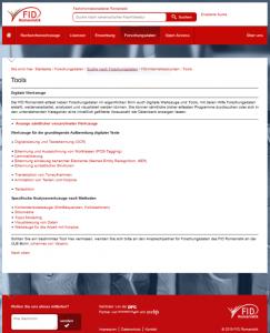 Screenshot der Portalseite zu den digitalen Werkzeugen