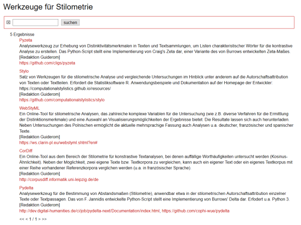 "Screenshot der Datebankkategorie ""Stilometrie"""