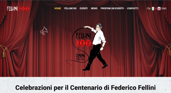 Screenshot der Website Fellini100.beniculturali.it