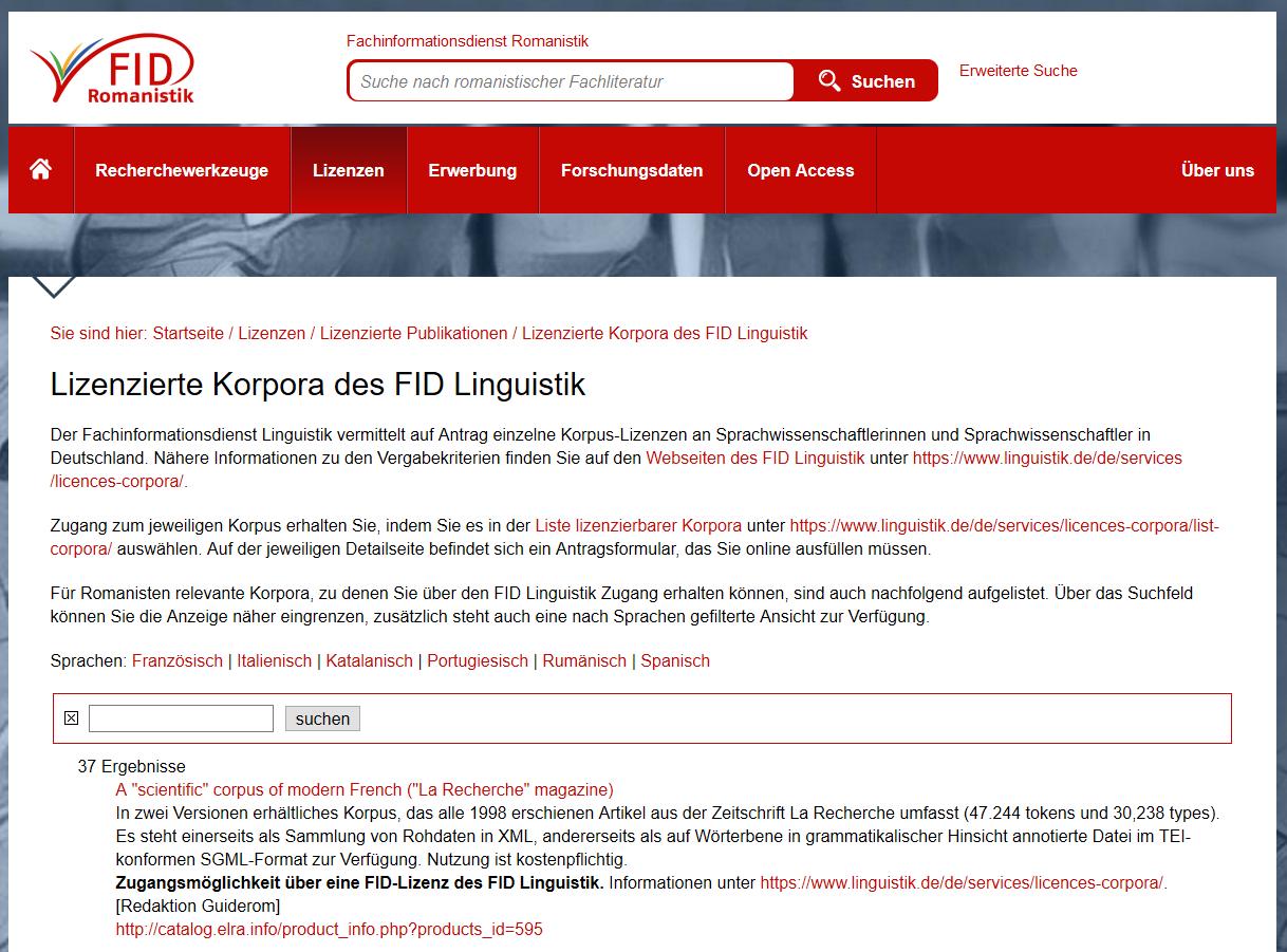 Lizenzen des FID Linguistik