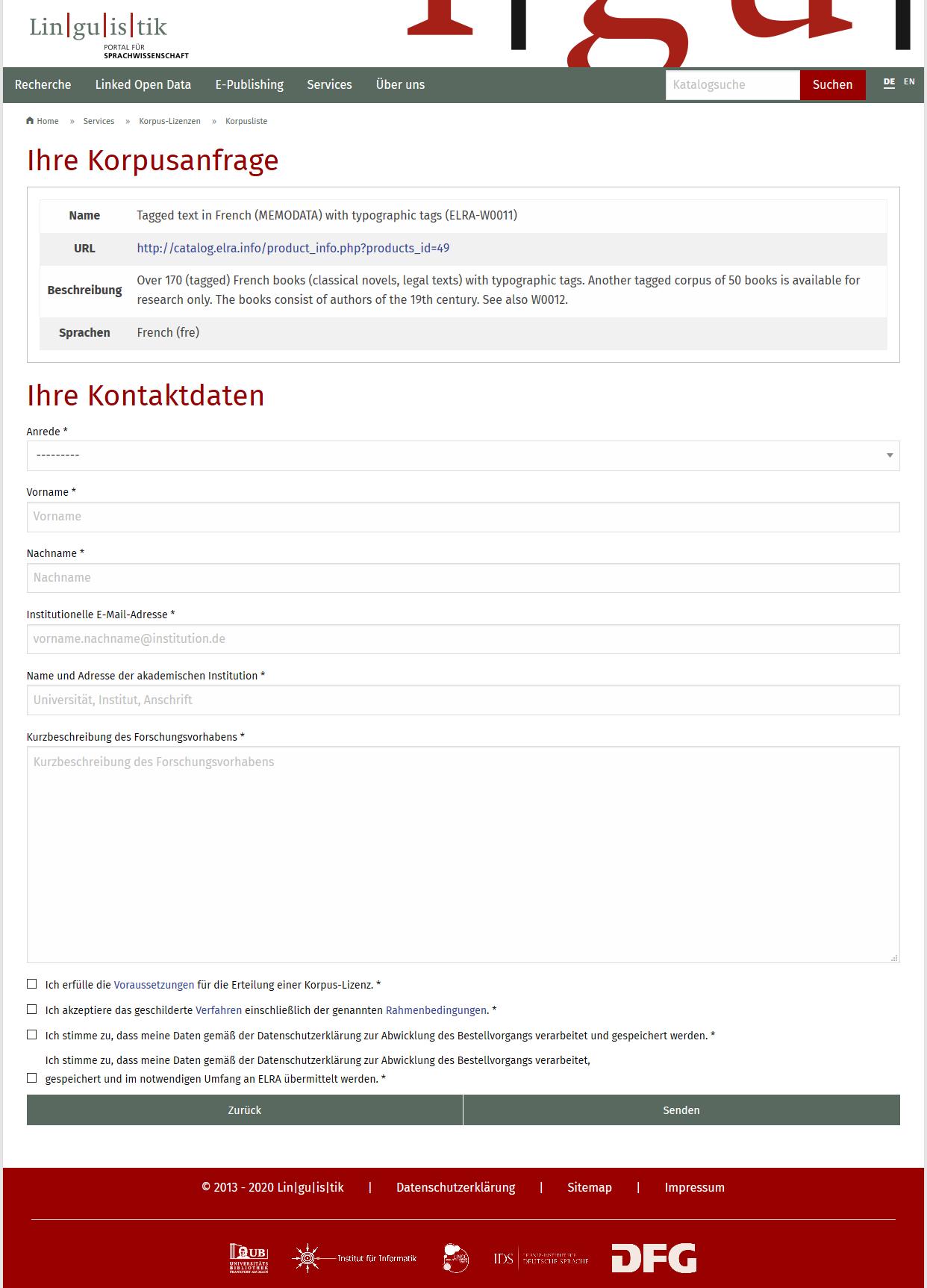 Detailansicht und Antragsformular
