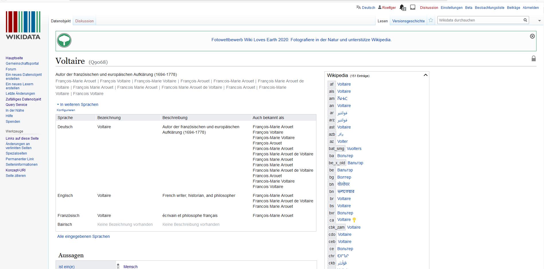 """Wikidata-Item Q9068 - """"Voltaire"""""""