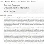 """Neue Überblicksseite """"Open Access in der Romanistik"""""""