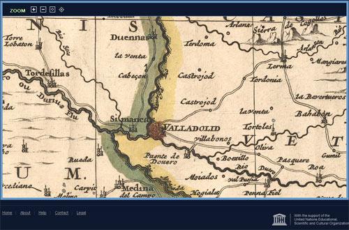 Historische Karte Spaniens und Portugals, Gegend um Valladolid