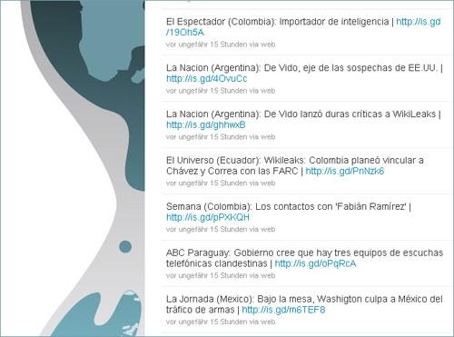 Twiter-Meldungen von Wikileaks zu Lateinamerika